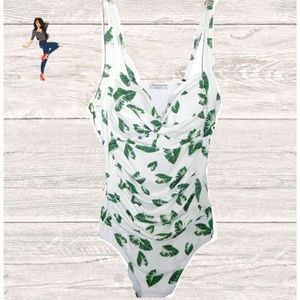 Other - NWT WHITE GREEN LEAF ONE PIECE SWIM SUIT